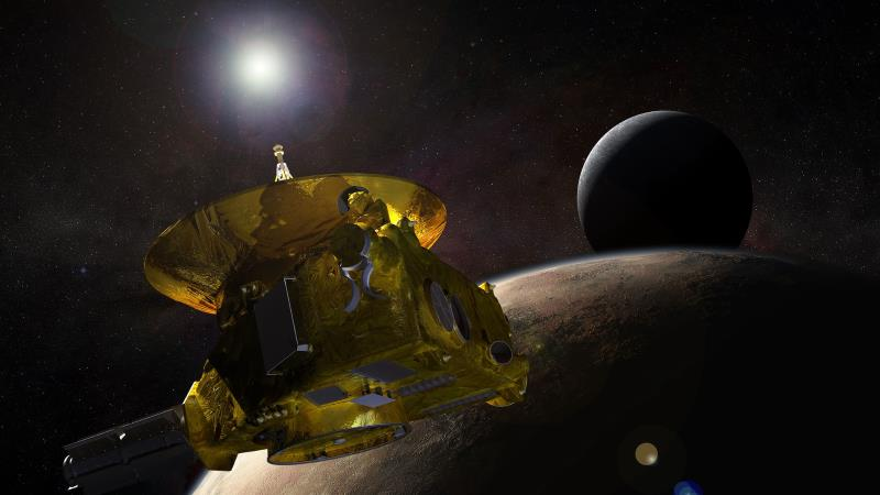 An artistic rendering of NASA's New Horizons spacecraft